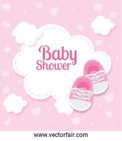 baby shower card with shoes and clouds