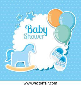 baby shower card with wooden horse and decoration