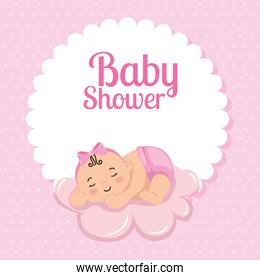 baby shower card with cute girl and cloud