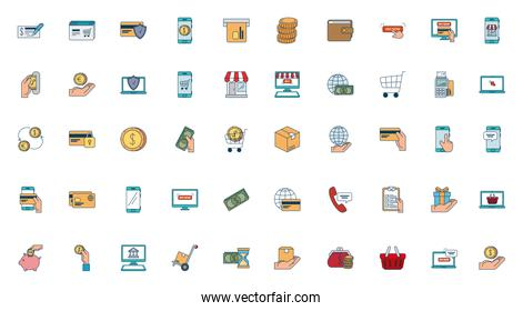 bundle of pay online set icons