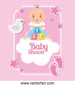 baby shower card with baby and decoration