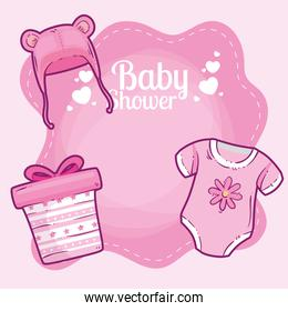 baby shower card with clothes baby and decoration