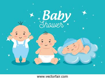 baby shower card with little boys and decoration