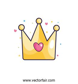 cute crown with heart icon