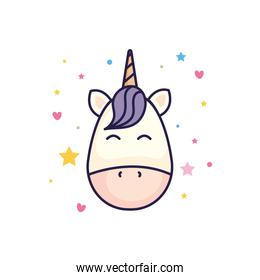 head of cute unicorn fantasy with hearts and stars decoration