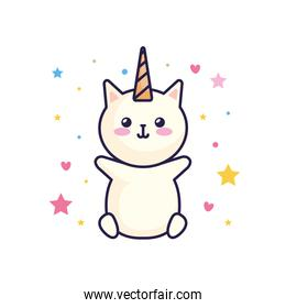 cute cat unicorn fantasy with hearts and stars decoration