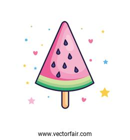 cute watermelon ice cream with stars and hearts decoration