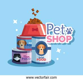 pet shop veterinary with food animals