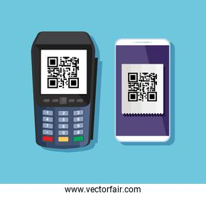 dataphone and smartphone with scan qr code