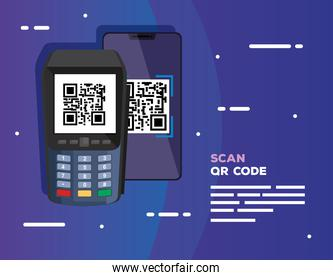 scan code qr with dataphone and smartphone