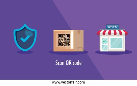 scan qr code in box carton and icons