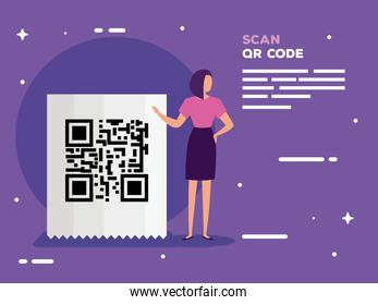 scan qr code in voucher paper and business woman