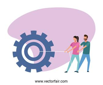 avatar man and woman pulling a big gear wheel, colorful design