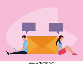 avatar man and woman using technology devices sitting around of envelope
