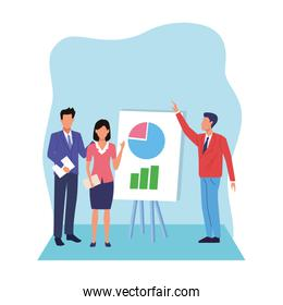 avatar businessmen and woman with board with graphic charts, flat design