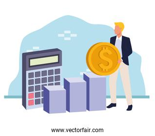 avatar businessman holding a money coin and calculator, colorful design