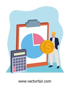 avatar businessman with money coin and clipboard and calculator