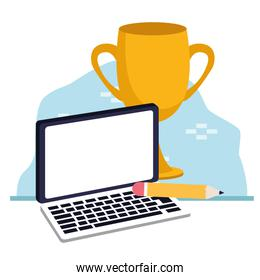 laptop computer and trophy cup, colorful design
