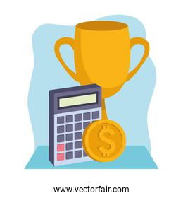 trophy cup with calculator and money coin