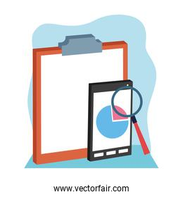clipboard with smartphone and magnifying glass, flat design