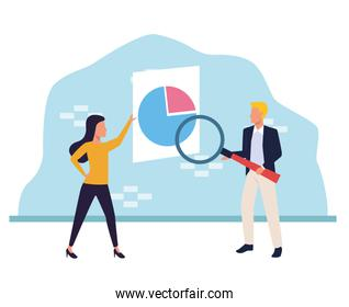 avatar woman and man pointing a board with graphic chart