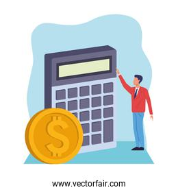 avatar businessman with calculator and money coin
