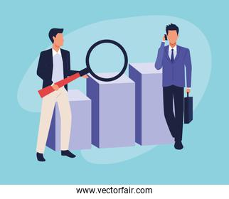 avatar businessmen with big magnifying glass and graphic bar chart
