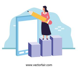 avatar businesswoman on graphic bar chart pointing a smartphone
