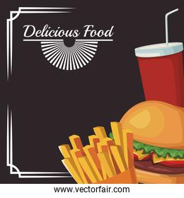 hamburger with french fries and soft drink cup, delicious food design