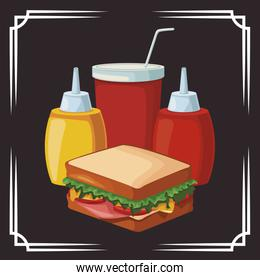 sandwich and sauces bottles and soft drink cup