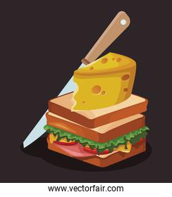 sandwich with big cheese slice and knife