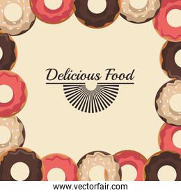 delicious food design with sweet donuts frame