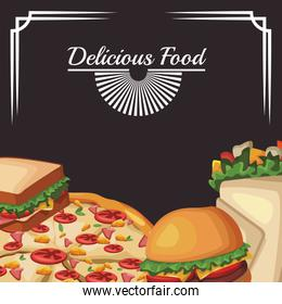 delicous fast food, colorful design