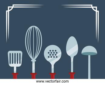 kitchen utensils icon, colorful design