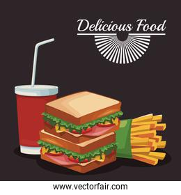sandwich and french fries and soft drink cup