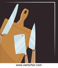 chopping board and knives icons