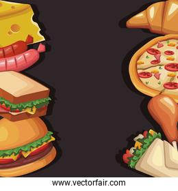 frame with delicious fast food, colorful design