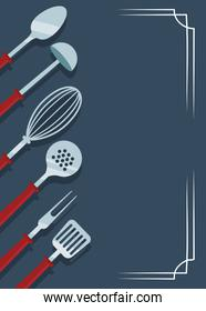 kitchen utensils, colorful design icons