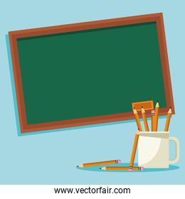 school chalkboard and mug with pencils, colorful design