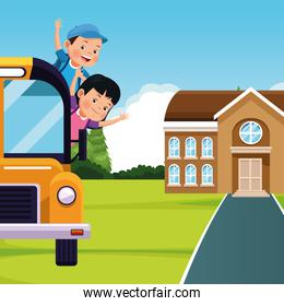 back to school design with school bus with happy kids going out for the windows