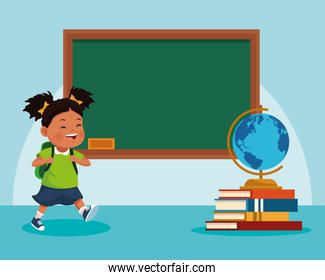 cartoon girl and school chalkboard and stack of books with globe