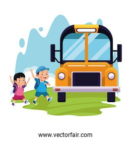 cartoon boy and girl and school bus, colorful design