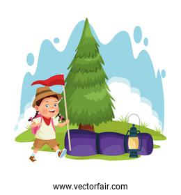 cartoon explorer girl at forest camping with sleeping bag and flag