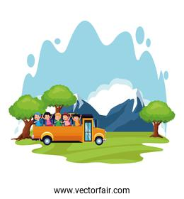 happy kids in the school bus at the forest, colorful design
