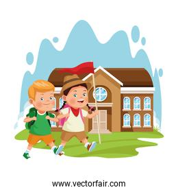 explorer girl and boy at school building