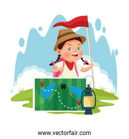 cartoon explorer girl with forest map and lantern