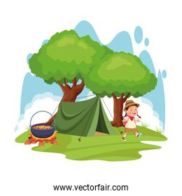 cartoon explorer girl in a camp with tent and bonfire with pot