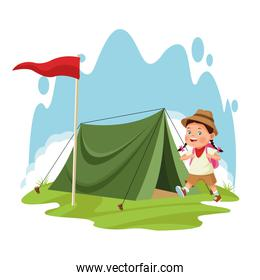 cartoon explorer girl and camping tent with red flag