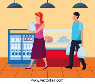 avatar woman and man on the supermarket near to beverages and meat fridges