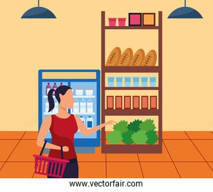 avatar woman at supermarket aisle with stands, colorful design